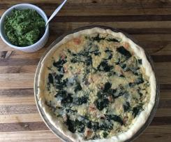 Salmon and Spinach Quiche with Pea Pesto