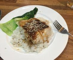 Fish with ginger, chilli and soy dressing.