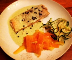 Steamed Salmon with Green Peppercorn sauce and Vegetables