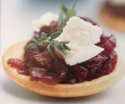 Caramelised onion tartlets with feta and thyme