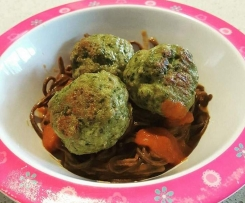PALEO Chicken & Kale Meatballs with Tomato & Carrot Sauce (Toddler Friendly)