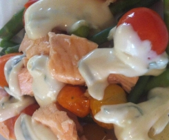 Steamed Salmon Salad with Fresh Basil Mayonnaise