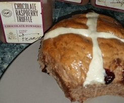 Choc-raspberry hot crossed buns