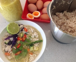 Shredded chicken/chicken & veg soup & boiled eggs