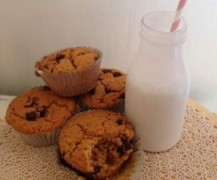 Refined sugar, dairy, egg, vegan choc chip muffins