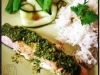Asian style salmon with Coriander Cashew Pesto & Coconut Rice