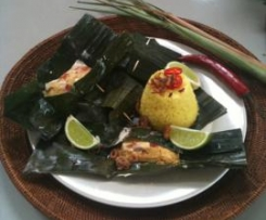 Indonesian Chicken with Spices in Banana Leaf