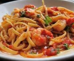 Chilli prawn, squid and scallop pasta dish