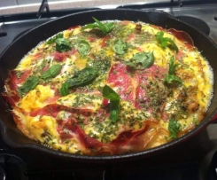 Goats cheese, sundried tomato and proscuitto frittata
