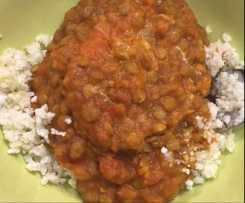 All in one Sweet Potato Lentil Curry with Cauli Rice