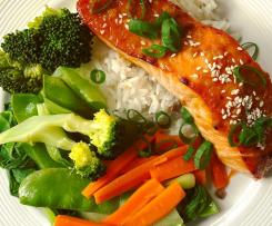 Miso salmon with rice and vegetables