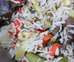 Beef  with Rice Vege and Cashews