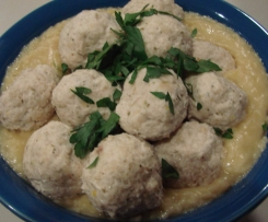 Chicken polpette (meatballs) with risoni