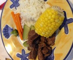 Beef, rice and veggies