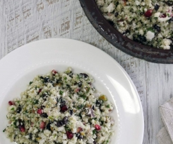 Cauliflower 'cous cous', pomegranate, pistachio salad