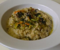 Zucchini Flower Risotto with Thyme Oil