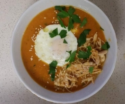 BACON, EGG & TOMATO SOUP (WITH SHREDDED CHICKEN)