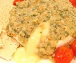Warm Brie with Basil Pesto Dressing