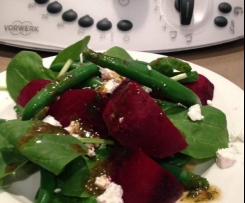 Beetroot, bean salad with basil vingaigrette