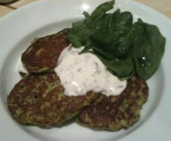 ZUCCHINI FRITTERS WITH MINTED YOGHURT