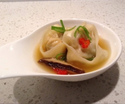 Vegetable Wontons in Asian broth