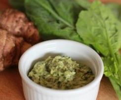 Warm Jerusalem artichoke and baby kale dip