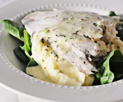 Barramundi with Mash Potato and Lemon Butter Sauce