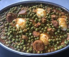 Portuguese Pea stew - Ervilhas com ovos escalfados