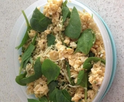 Coconut, curry quinoa, egg and spinach mix