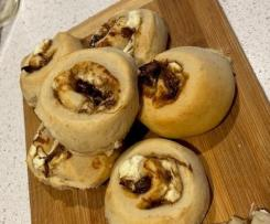 Onion and goat cheese scrolls
