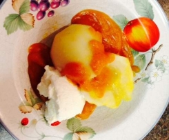Cinnamon Pears with Apricot Sauce