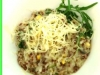 risotto with red quiona/rocket/mushrooms