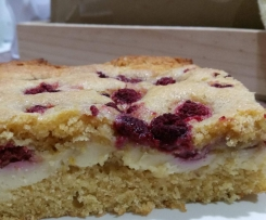 Raspberry Lemon Custard Cake