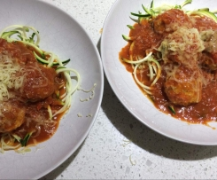 Steamed Chicken Meatballs with Homemade Tomato Sauce
