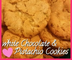 white chocolate & pistachio cookies