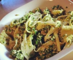 Hand cut pappardelle with Broccoli and Cashew nut Pesto