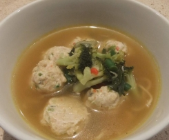 Chicken and Fish Balls in Asian Noodle Broth