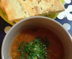 Tomato & Chickpea Soup with Turkish Bread