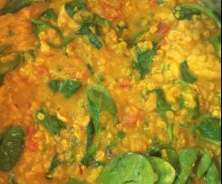 Tomato, lentil and fish dahl