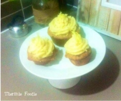 Vanilla Coconut Cupcakes with Lemon Frosting (nut free, grain free, gluten free, refined sugar free, dairy free)