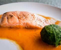 George Calombaris' Confit Salmon with Spinach and Tomato