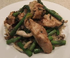 Miso steamed chicken with asparagus and oyster mushrooms