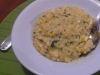 Chicken, pumpkin and spinach risotto with feta cheese