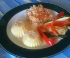 Steamed cheese pudding with rice capsicum and sauce