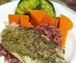 Basil Pesto Steamed Fish and wild rice
