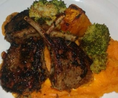 BALSAMIC LAMB CUTLETS WITH SWEET POTATO MASH