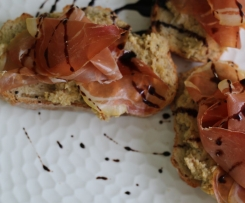 Toasted ciabatta with Truffle Ponzu artichokes and shaved jamon