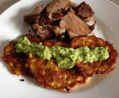 Gluten free corn fritters with avocado dressing