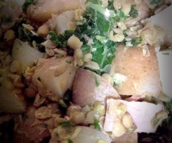 Warm potato and lentil salad
