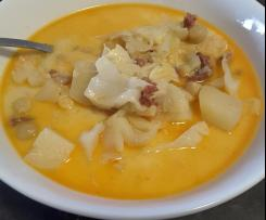 White cabbage chorizo potato soup